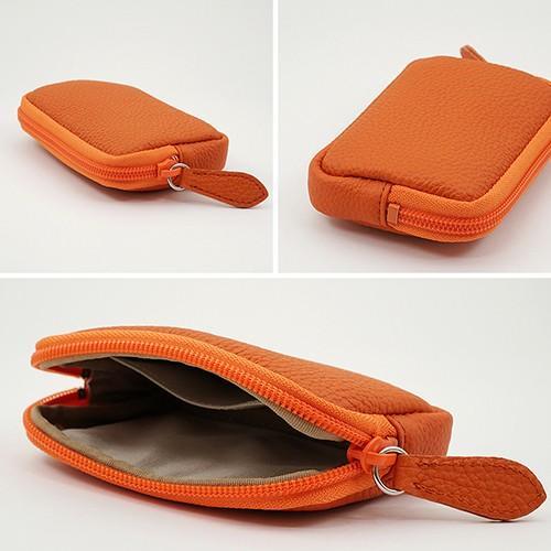 高級 本革 大人 の マルチポーチ 小さなお出かけバッグも すっきり 整理 手のひらサイズ 小物入れ(オレンジ) zeppinchibahonpo 05