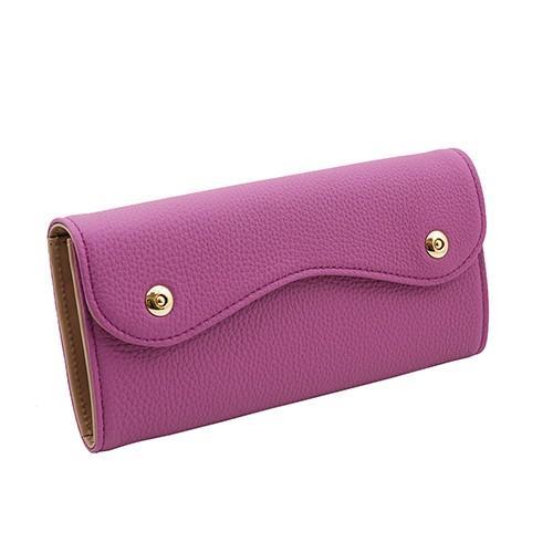 ドイツシュリンク カブセ型 マグネット 長財布 2つ釦(ボタン)と曲線が 可愛い 本革 レディース 財布  サーフ|zeppinchibahonpo