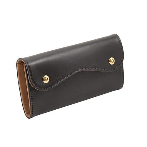 ブライドルレザー Wホック 2つボタン かぶせ型 本革 長財布 (チョコ) zeppinchibahonpo