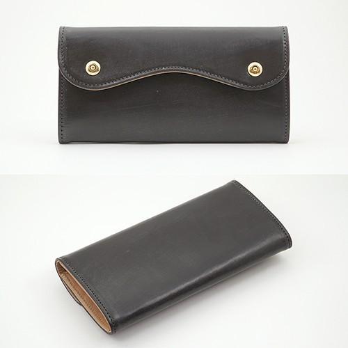 ブライドルレザー Wホック 2つボタン かぶせ型 本革 長財布 (チョコ) zeppinchibahonpo 02
