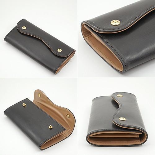 ブライドルレザー Wホック 2つボタン かぶせ型 本革 長財布 (チョコ) zeppinchibahonpo 03