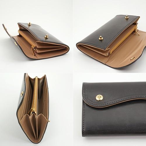 ブライドルレザー Wホック 2つボタン かぶせ型 本革 長財布 (チョコ) zeppinchibahonpo 04