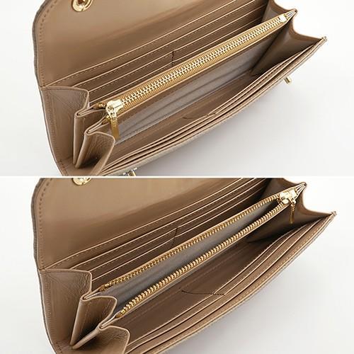 ドイツシュリンク カブセ型 マグネット 長財布 2つ釦(ボタン)と曲線が 可愛い 本革 レディース 財布 ライトグレー(※ベージュ)|zeppinchibahonpo|05