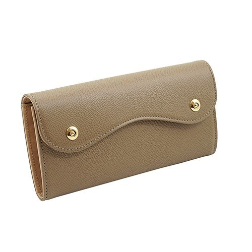 ノブレッサカーフ カブセ型 マグネット 長財布 2つ釦(ボタン)と曲線が 可愛い 本革 レディース 財布 トープ zeppinchibahonpo