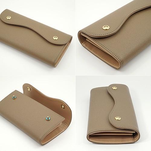 ノブレッサカーフ カブセ型 マグネット 長財布 2つ釦(ボタン)と曲線が 可愛い 本革 レディース 財布 トープ zeppinchibahonpo 03
