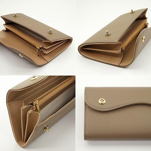 ノブレッサカーフ カブセ型 マグネット 長財布 2つ釦(ボタン)と曲線が 可愛い 本革 レディース 財布 トープ zeppinchibahonpo 04