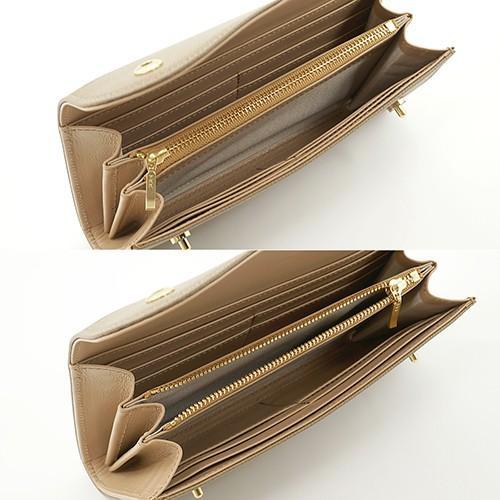 ノブレッサカーフ カブセ型 マグネット 長財布 2つ釦(ボタン)と曲線が 可愛い 本革 レディース 財布 トープ zeppinchibahonpo 05