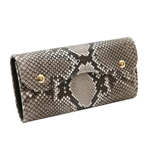 イタリアンパイソン × イタリアンカーフ2つ釦(ボタン) Wホック かぶせ型 長財布|zeppinchibahonpo