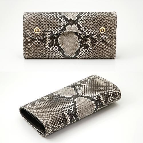 イタリアンパイソン × イタリアンカーフ2つ釦(ボタン) Wホック かぶせ型 長財布|zeppinchibahonpo|02