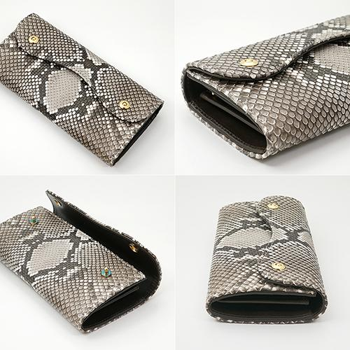 イタリアンパイソン × イタリアンカーフ2つ釦(ボタン) Wホック かぶせ型 長財布|zeppinchibahonpo|03