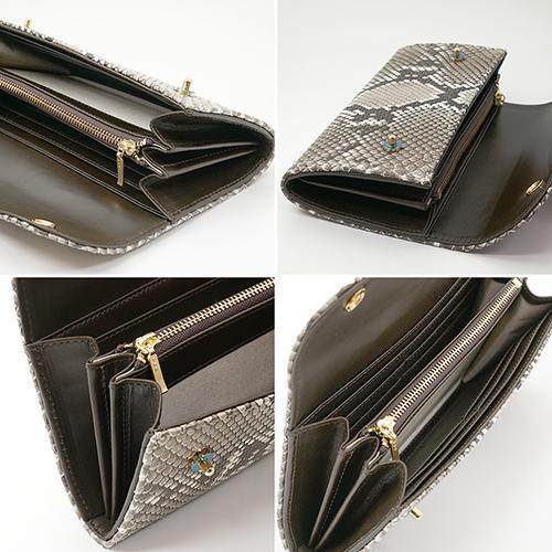 イタリアンパイソン × イタリアンカーフ2つ釦(ボタン) Wホック かぶせ型 長財布|zeppinchibahonpo|04