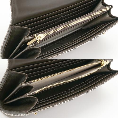 イタリアンパイソン × イタリアンカーフ2つ釦(ボタン) Wホック かぶせ型 長財布|zeppinchibahonpo|05