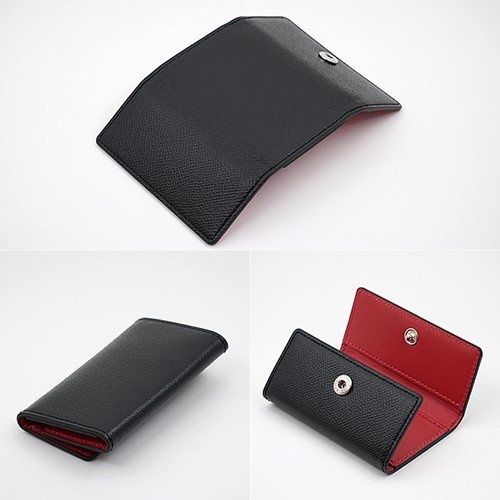ノブレッサカーフ 4連 3つ折り 高級牛革 シンプル キーケース (黒/赤) zeppinchibahonpo 04