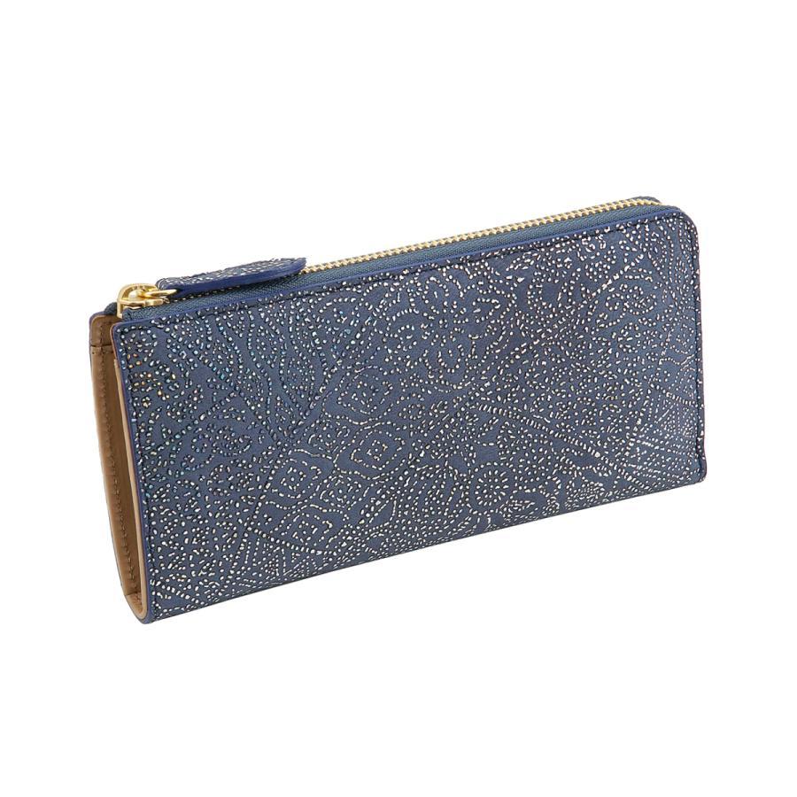 光を纏って美しく輝く スペイン シープレザー 仔羊本革 FIORINO フィオリーノ L字型 ファスナー 長財布(ブルー) zeppinchibahonpo
