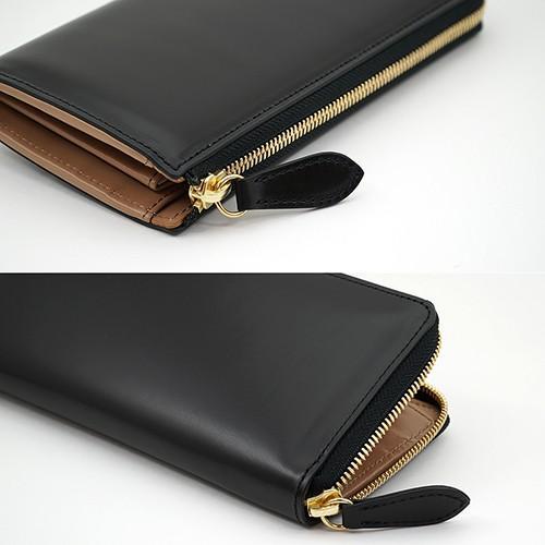 イタリアンカーフ 本革 L字ファスナー型 メンズ 長財布 ブラック zeppinchibahonpo 04