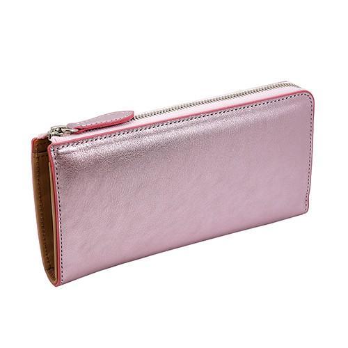 イタリアンキップ 本革 L字ファスナー型 長財布 キラキラ 可愛い レディース 財布(プラチナピンク) zeppinchibahonpo