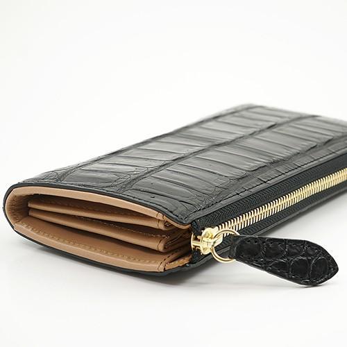 【1点モノ】本革 クロコダイル マット仕上げ L字ファスナー型 長財布 ブラック zeppinchibahonpo 05
