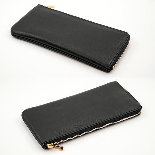イタリアンカーフ 薄型 L字ファスナー 長財布 SLIM LINE (ブラック)|zeppinchibahonpo|02