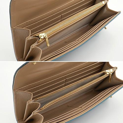 ドイツシュリンク カブセ型 マグネット 長財布 2つ釦(ボタン)と曲線が 可愛い 本革 レディース 財布 ジーンブルー zeppinchibahonpo 05