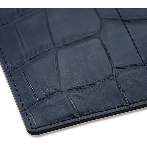 国産レザー 型押し クロコダイル 保険証 お薬手帳 が入る バッグイン スリム マルチ カードケース(ネイビー) ギフトにおすすめ|zeppinchibahonpo|04