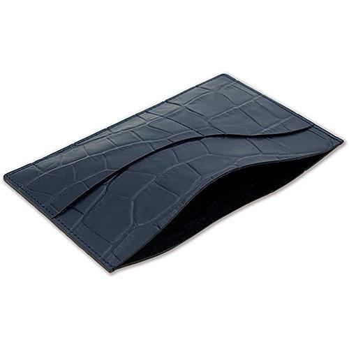 国産レザー 型押し クロコダイル 保険証 お薬手帳 が入る バッグイン スリム マルチ カードケース(ネイビー) ギフトにおすすめ|zeppinchibahonpo|05