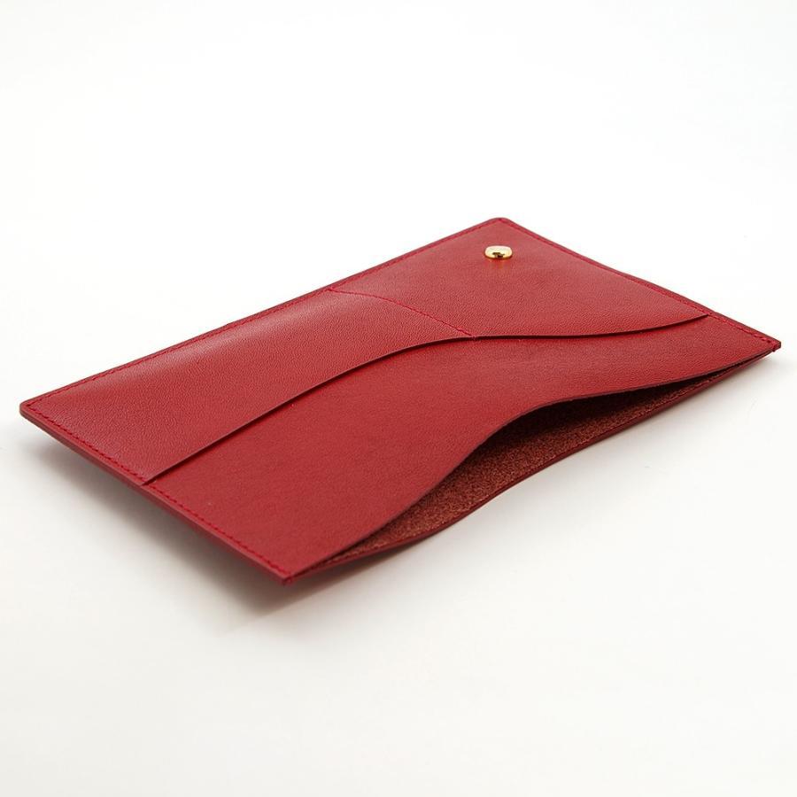 国産スムースレザー 保険証 お薬手帳 が入る バッグイン スリム マルチ カードケース ギフトにおすすめ(レッド)|zeppinchibahonpo|05