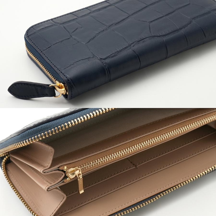 高級 ハンドメイド 財布 ネイビー クロコダイル(型押し) の 本革 ラウンドファスナー 長財布|zeppinchibahonpo|05