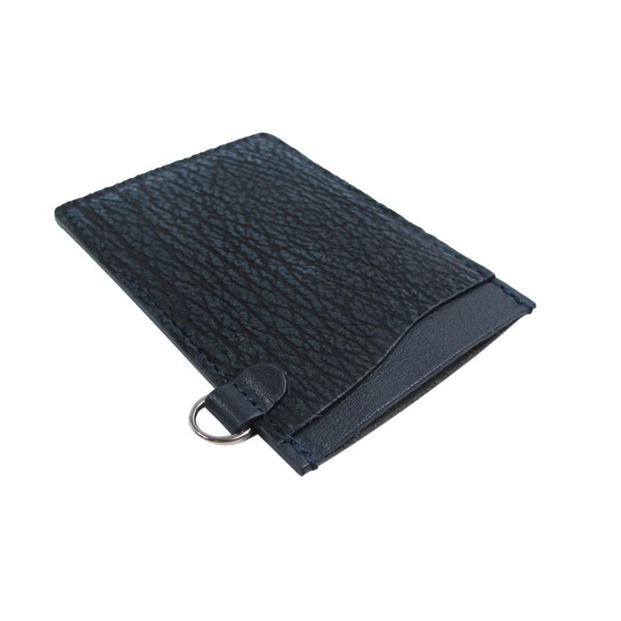 通が選ぶ拘りの皮革 鮫革(片面・吟スリ加工)パスケース 定期入れ (ネイビー) zeppinchibahonpo 03