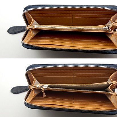 ハンドバッグ 職人 が 高級 イタリアンレザー バケッタ800(ネイビー)で作った 本革 ラウンドファスナー 長財布 zeppinchibahonpo 04