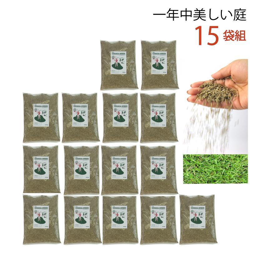 【15袋組】芝生の種 ガーデングラス NEWカナダグリーン 芝生 種類 混合 種子 1袋944g 全袋使用で密集の場合 推奨300平方メートル 最大1350平方メートル