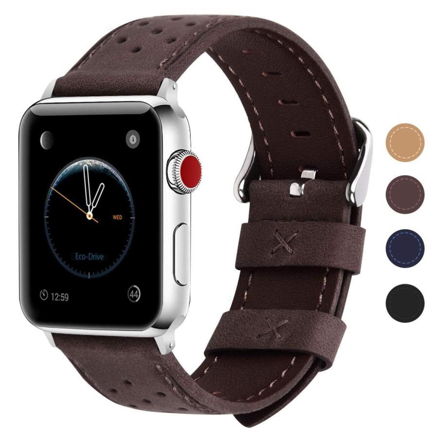 Fullmosa Apple Watch対応 バンド 42mm/44mm、Apple Watch series4 3 2 1バンド iwatch バンド 本革 レザー 42mm/44mm コーヒー色|zwink