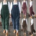 サロペットパンツ サロペット オールインワン レディース コーデュロイ ロングパンツ パンツドレス ...