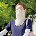 顔面、首筋の日焼け防止に!   UVカット素材を使った大判フェイスマスクの2枚セット。 帽子との併用...
