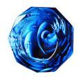 八角形 オクタゴン 多角形 卓上 高級 クリスタル ガラス製 灰皿 幻想 模様 青色 ブルー 品番:...