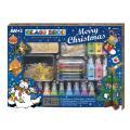 グラスデコ クリスマス 24色+のり サンキャッチャー/イラスト付き 74個セット AMOS GLA...