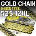 バイク チェーン 525-120L O-RING ゴールド 金 シールチェーン ドライブチェーン ク...