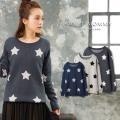 【在庫限り】マタニティ 服 ニット オーガニックコットン 星柄 ジャガード編み 授乳服
