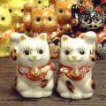 九谷焼 招き猫 Yahoo!ランキングで1位を獲得!金運招きの右手猫ちゃん、ご縁招きの左手猫ちゃんが...
