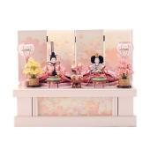 雛人形 ひな人形 千匠 収納飾り 親王飾り ピンク色で統一された可愛らしさ満点の親王飾りです。収納箱...