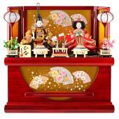 2019年度新作 雛人形 木目を生かし艶やかな質感に仕上げた飾り台に、京箔屏風を合わせた、華やかさ溢...