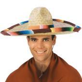 マルチカラーのトリム付きのメキシカン麦わら帽子。ワンサイズでほとんどの大人の方にフィットします。  ...