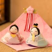 雛人形 コンパクトサイズ お名前の入った木札付お子様の雛人形 雛人形/ひな人形/ちりめん/コンパクト...