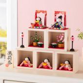 雛人形 コンパクトサイズ お名前の入った木札付 お子様の雛人形 雛人形/ひな人形/ちりめん/コンパク...