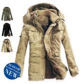 中綿コート メンズ 裏ボア ロングコート フード 厚手 コットン ロング 大きいサイズ あったか 冬...