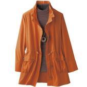 衿ギャザーブルゾン。 アウター ジャケット コート 秋冬 撥水恰好 春コート オレンジ ナイロン