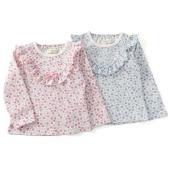 定番の花柄Tシャツ♪たっぷりのフリルはV字に☆ちょっぴりシャープな印象ですがソフトな色合いの花柄で程...