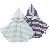 上品な雪柄ジャガード素材のマント*・゜裏側はあったかボア素材で赤ちゃんを優しく包みます♪フード先には...