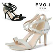 靴  ILIMA イリマ クロスストラップ 8cm ヒール スエード デニム ヘビ  ◆表素材:合成...