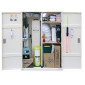 非常時に必要と思われる、緊急用品、作業用品、安全対策用品等を収納した資器材収納箱です。 オフィスビル...