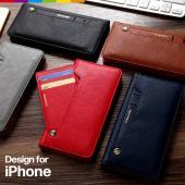 高級感あふれるPUレザーの手帳型iPhoneケース。 ケースのおもて面にスライドポケットがついている...